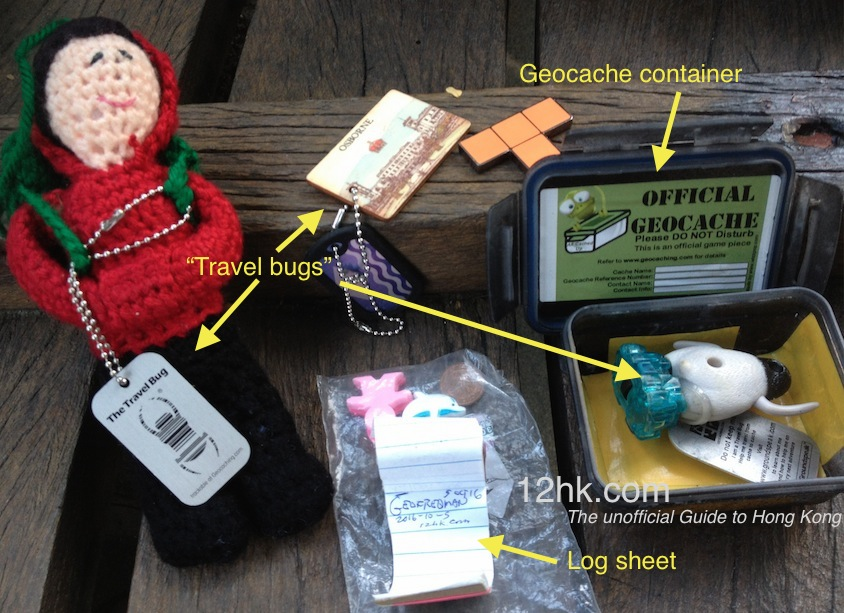 a geocache explained - container, 'travel bugs', log sheet